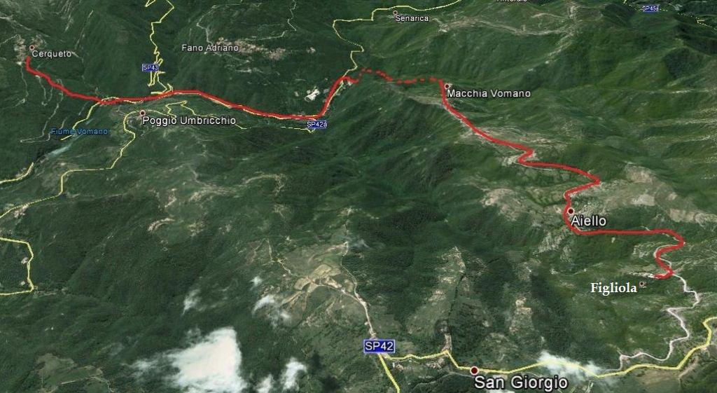 Itinerario Cerqueto, Macchia Vomano, Aiello, Figliola