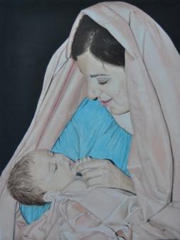 """""""...partorì un figlio… (Mt 1, 25), olio e acrilico su tela, 40×30 cm dell'artista Barbara Probo"""