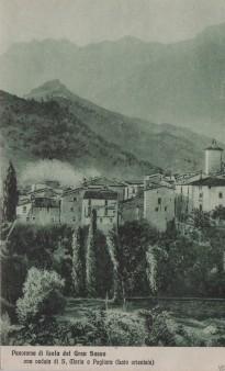 Panorama di Isola del Gran Sasso con la veduta di S. Maria a Pagliara