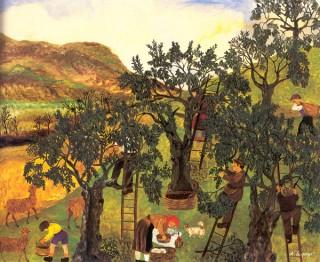 """""""La raccolta delle olive"""", 1972, di Annunziata Scipione"""