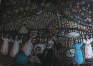 """"""" Natività"""" di Annunziata Scipione - Olio su tela 40x30 cm, opera realizzata per il Presepe Vivente di Cerqueto 2015"""